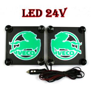 IVECO bialo zielone 1 glowne 300x300 - 1 Paar LKW LED Leuchtschilder 24V für Iveco