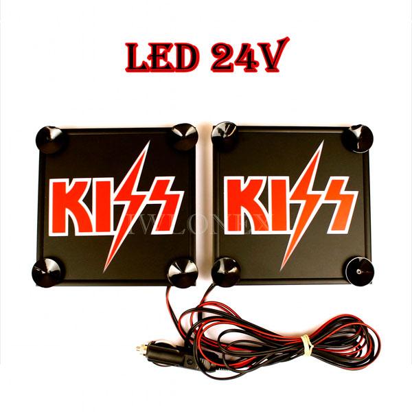 Kiss 1 glowne - 1 Paar LKW LED Leuchtschilder 24V Kiss