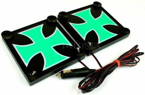 krzyz bialo zielony 2 600x394 - 1 Paar LKW LED Leuchtschilder 24V Kreuz