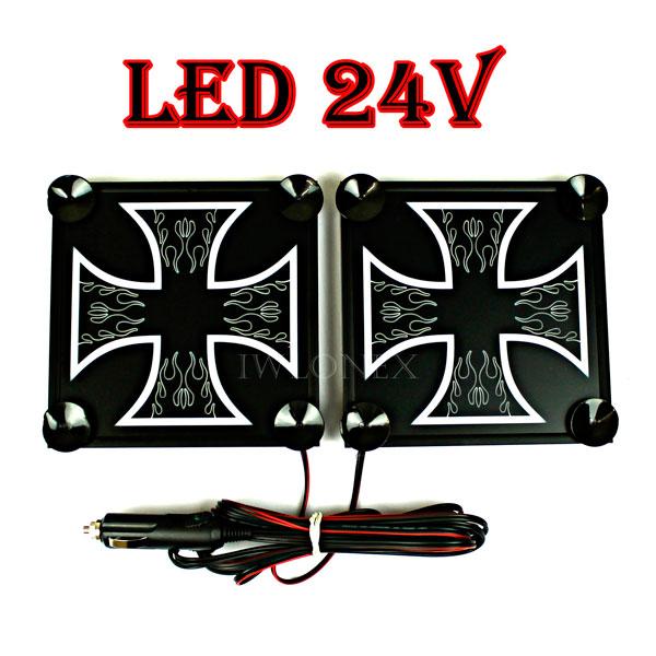 krzyz bialy 1 glowne - 1 Paar LKW LED Leuchtschilder 24V Kreuz