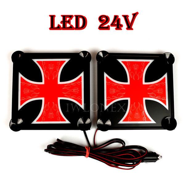 krzyz czerwono bialy 1 glowne 600x600 - 1 Paar LKW LED Leuchtschilder 24V Kreuz