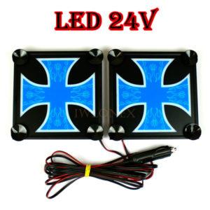 krzyz niebiesko bialy 1 glowne 300x300 - 1 Paar LKW LED Leuchtschilder 24V Kreuz