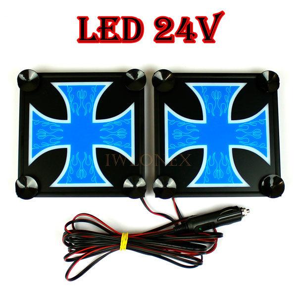 krzyz niebiesko bialy 1 glowne 600x600 - 1 Paar LKW LED Leuchtschilder 24V Kreuz