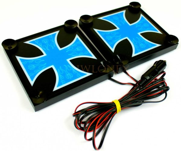 krzyz niebiesko bialy 2 600x499 - 1 Paar LKW LED Leuchtschilder 24V Kreuz