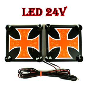 krzyz pomaranczowo bialy 1 glowne 300x300 - 1 Paar LKW LED Leuchtschilder 24V Kreuz