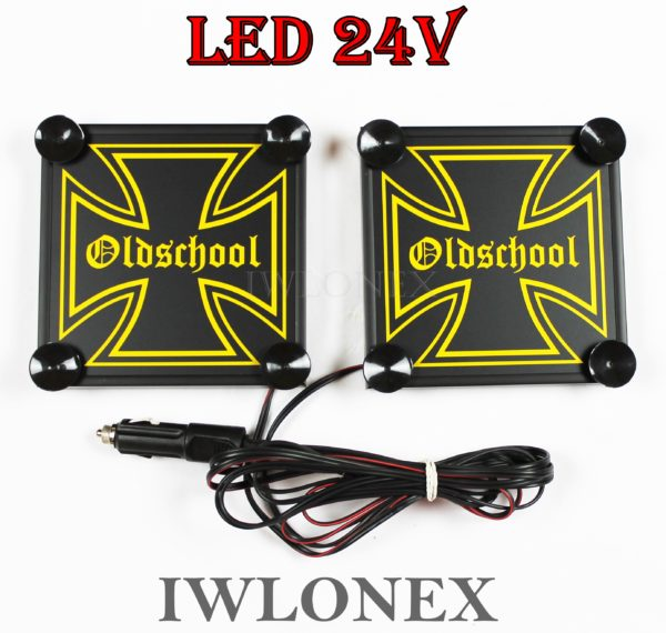 IMG 8617 600x570 - 1 Paar LKW LED Leuchtschilder 24V Eiserne Kreuz