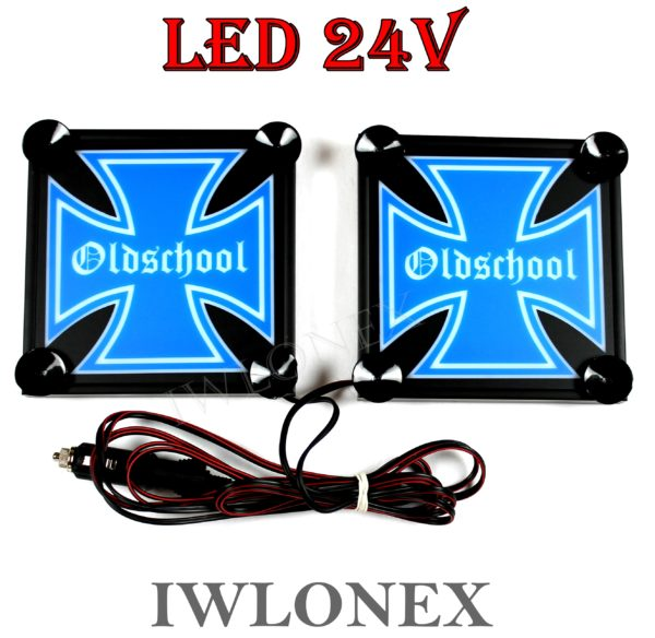 IMG 8622 600x584 - 1 Paar LKW LED Leuchtschilder 24V Eiserne Kreuz 15x15cm