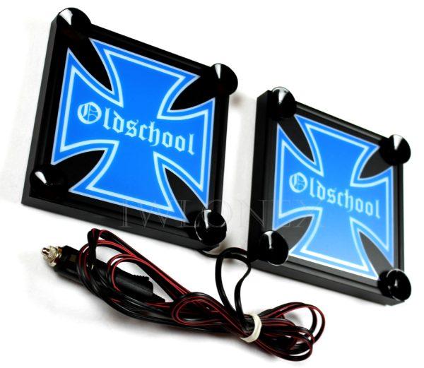 IMG 8623 600x521 - 1 Paar LKW LED Leuchtschilder 24V Eiserne Kreuz 15x15cm