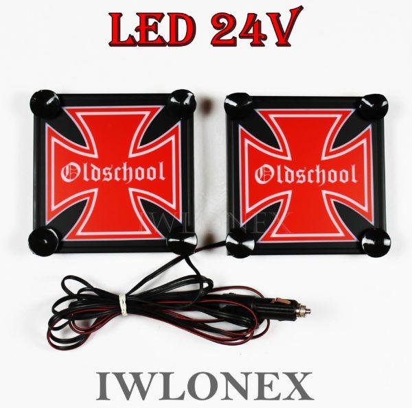 IMG 8629 600x595 - 1 Paar LKW LED Leuchtschilder 24V Eiserne Kreuz