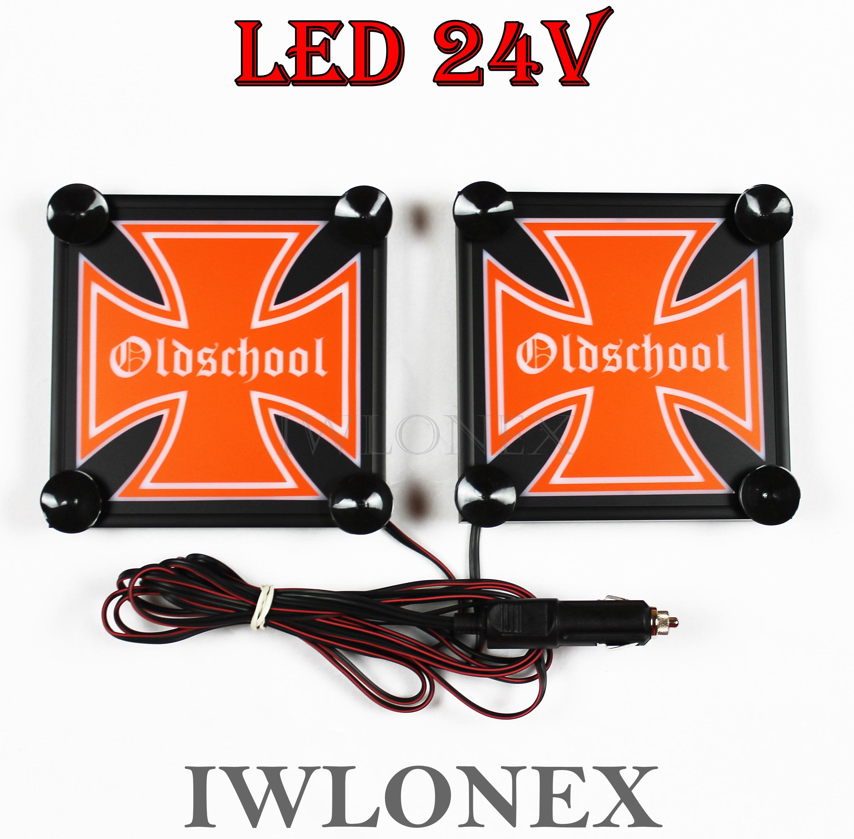 IMG 8635 - 1 Paar LKW LED Leuchtschilder 24V Eiserne Kreuz