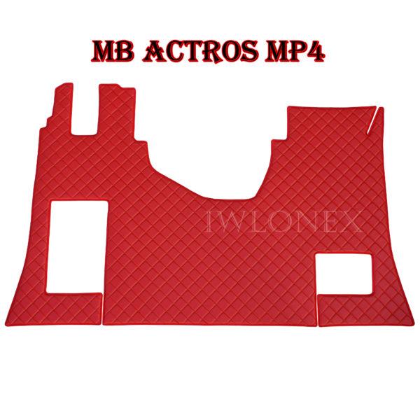 MB MP4 Rot SS 600x600 - Fußmatte für MB Actros MP4 Beifahrersitz-Klappbar Rot mit Stickerei