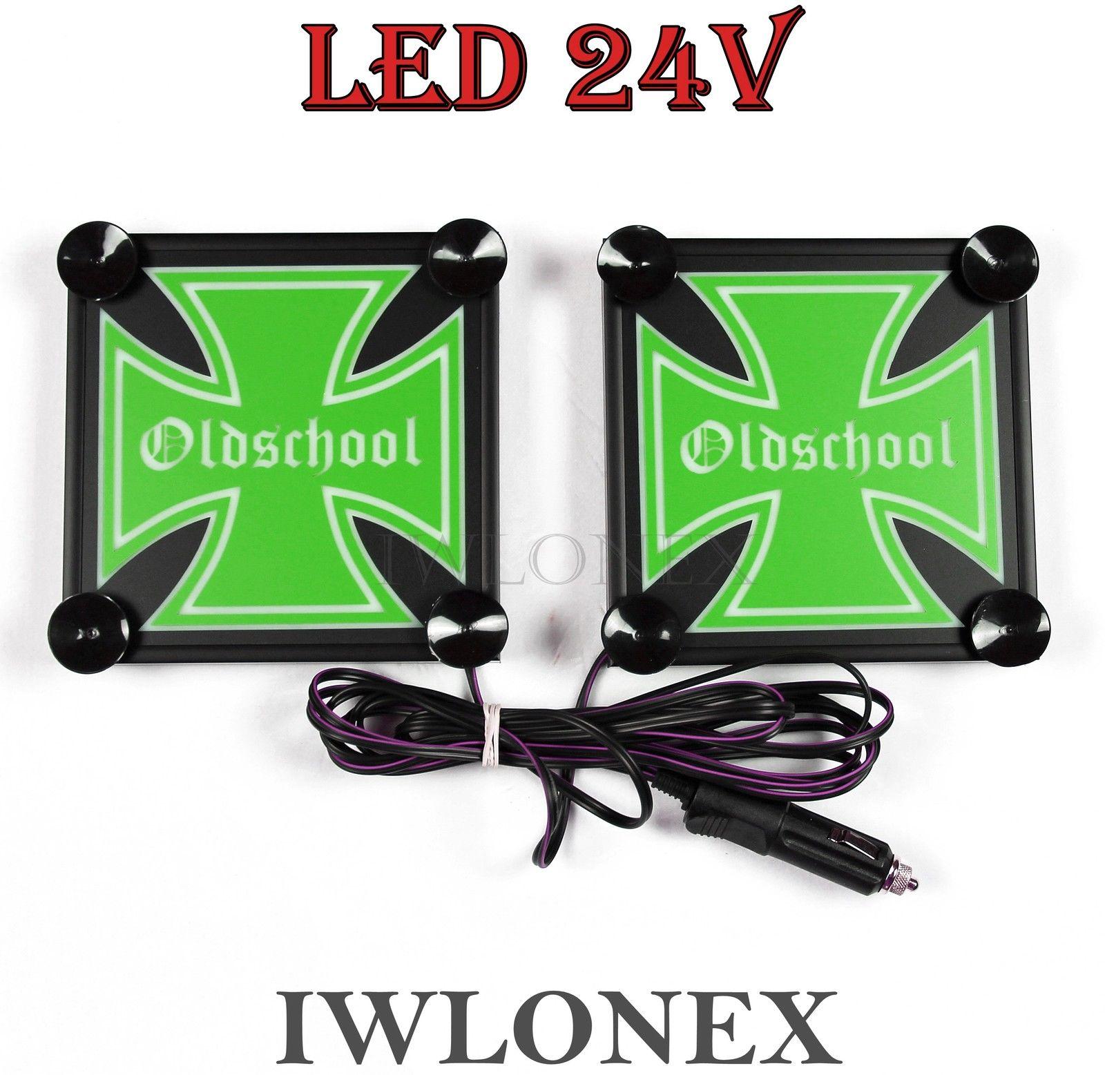 s l1600 - 1 Paar LKW LED Leuchtschilder 24V Eiserne Kreuz