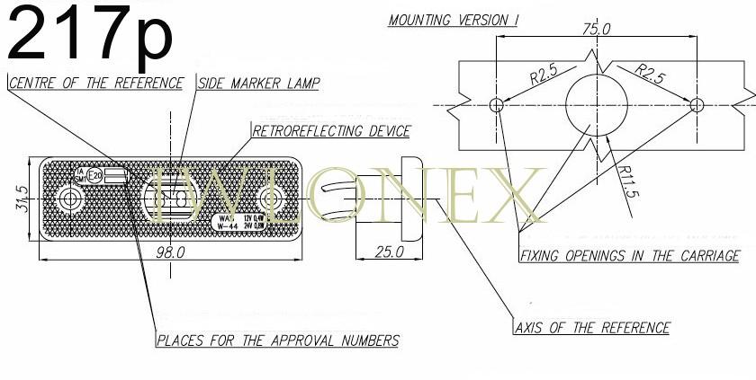iwlonex 217p Kopie - 1x LED UMRISSLEUCHTE SEITENMARKIERUNGSLEUCHTE 217p