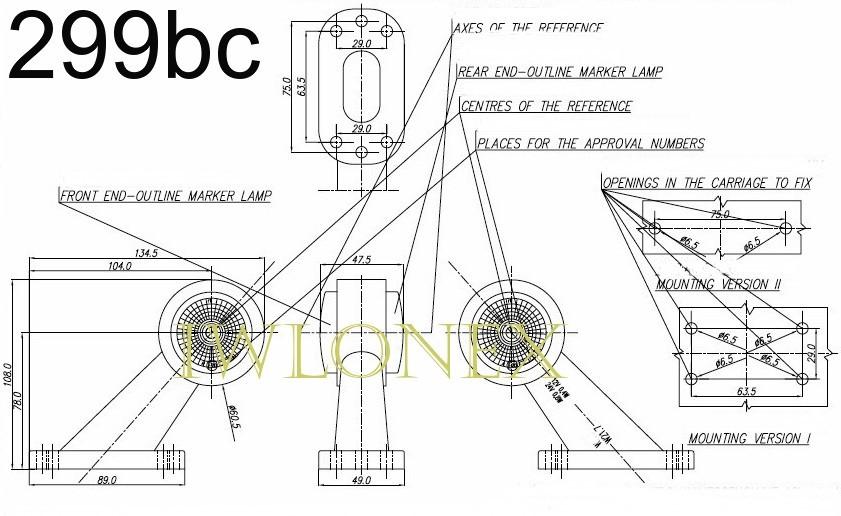 iwlonex 299bc - 2x LED BEGRENZUNGSLEUCHTE POSITIONSLEUCHTE 12V-24V,  299bc