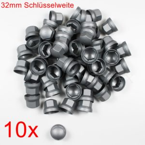 IMG 0267 300x300 - 10x RADMUTTERKAPPEN 32mm HÖHE 43mm Silber/Grau