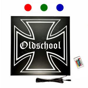 LED LKW RGB SCHILDER 46x46 OLDSCHOOL 1 300x300 - 1 x LKW LED RGB Rückwandschild Eiserne Kreuz 24V