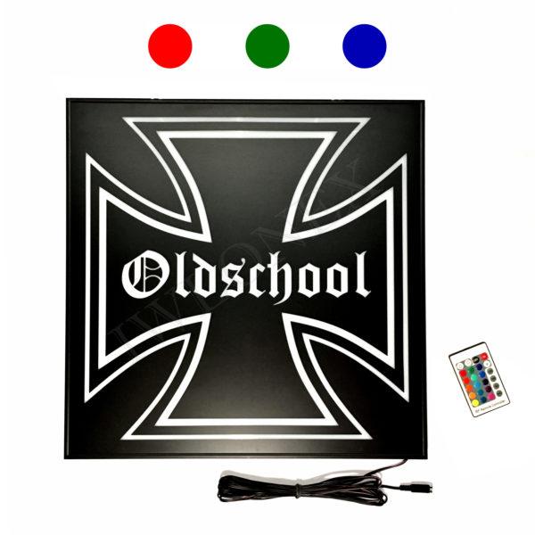 LED LKW RGB SCHILDER 46x46 OLDSCHOOL 1 600x600 - 1 x LKW LED RGB Rückwandschild Eiserne Kreuz 24V