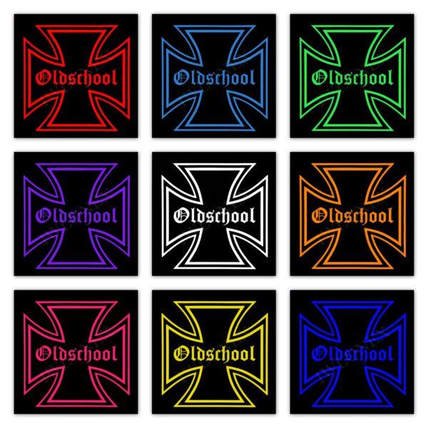 Oldschool RGB Led Schilder 46x46 600x600 - 1 x LKW LED RGB Rückwandschild Eiserne Kreuz 24V