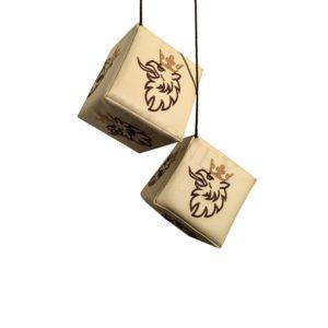 Wurfel SCANIA Beige logo braun 300x300 - 2 x LKW Würfel für SCANIA