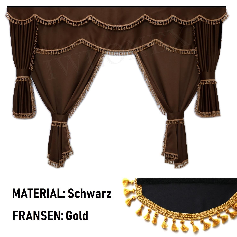 lkw gardinen passend f r daf schwarz gold iwlonex. Black Bedroom Furniture Sets. Home Design Ideas