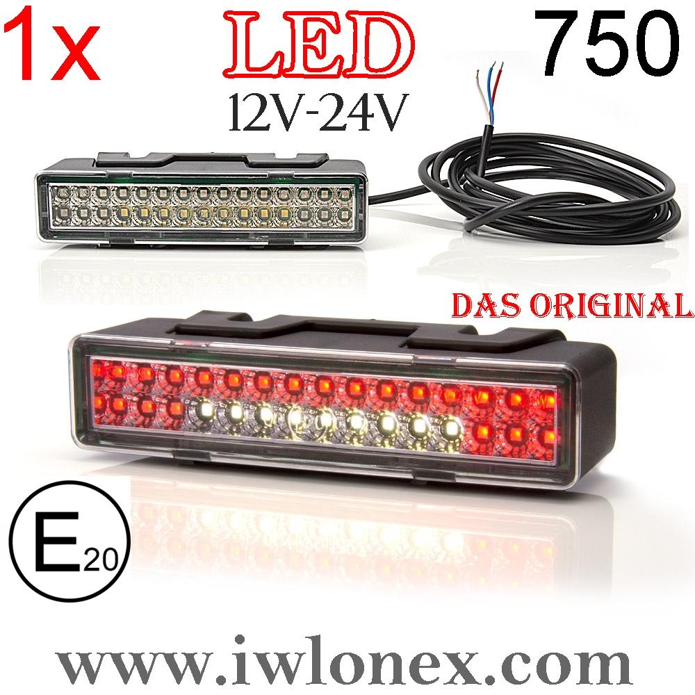 750 iwlonex - 1x LED NEBELSCHLUSSLEUCHTE m. RÜCKFAHRSCHEINWERFER 750