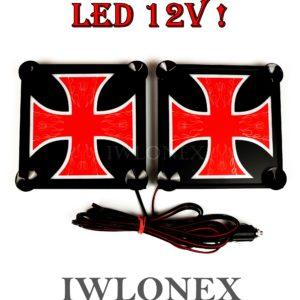 krzyz czerwono bialy 1 300x300 - 1 Paar LKW LED Leuchtschilder 12V Kreuz Rot-Weiß