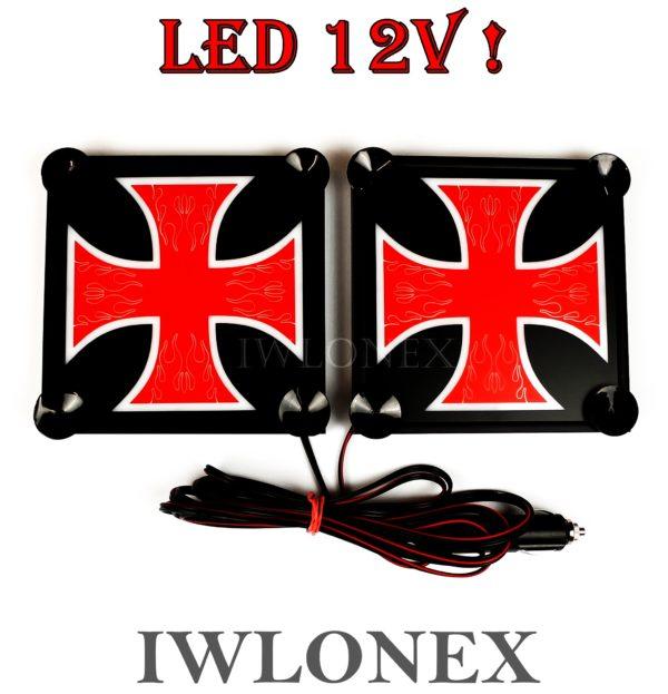 krzyz czerwono bialy 1 600x623 - 1 Paar LKW LED Leuchtschilder 12V Kreuz Rot-Weiß