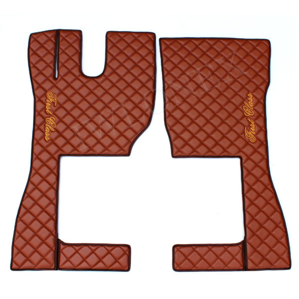 Fussmatten Volvo FH4 Braun 3 600x600 - Fußmatten+Sitzsockelverkleidung+Türverkleidung passend für VOLVO FH4 - deine Farben (Eiserne Kreuz)