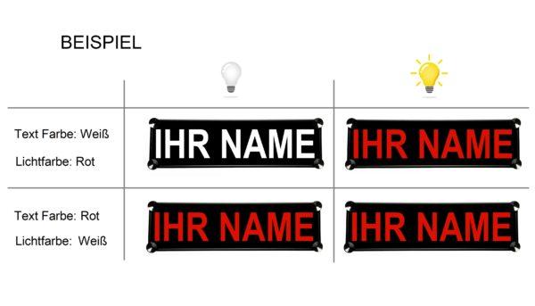Nameschild Farbe Beispiel 600x343 - LKW LED NAMENSCHILD 12V/24V - dein Name u. Farbe