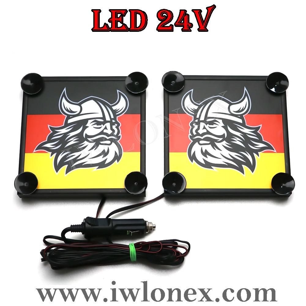 10 - 1 Paar LKW LED Leuchtschilder 24V Deutschland Wikinger