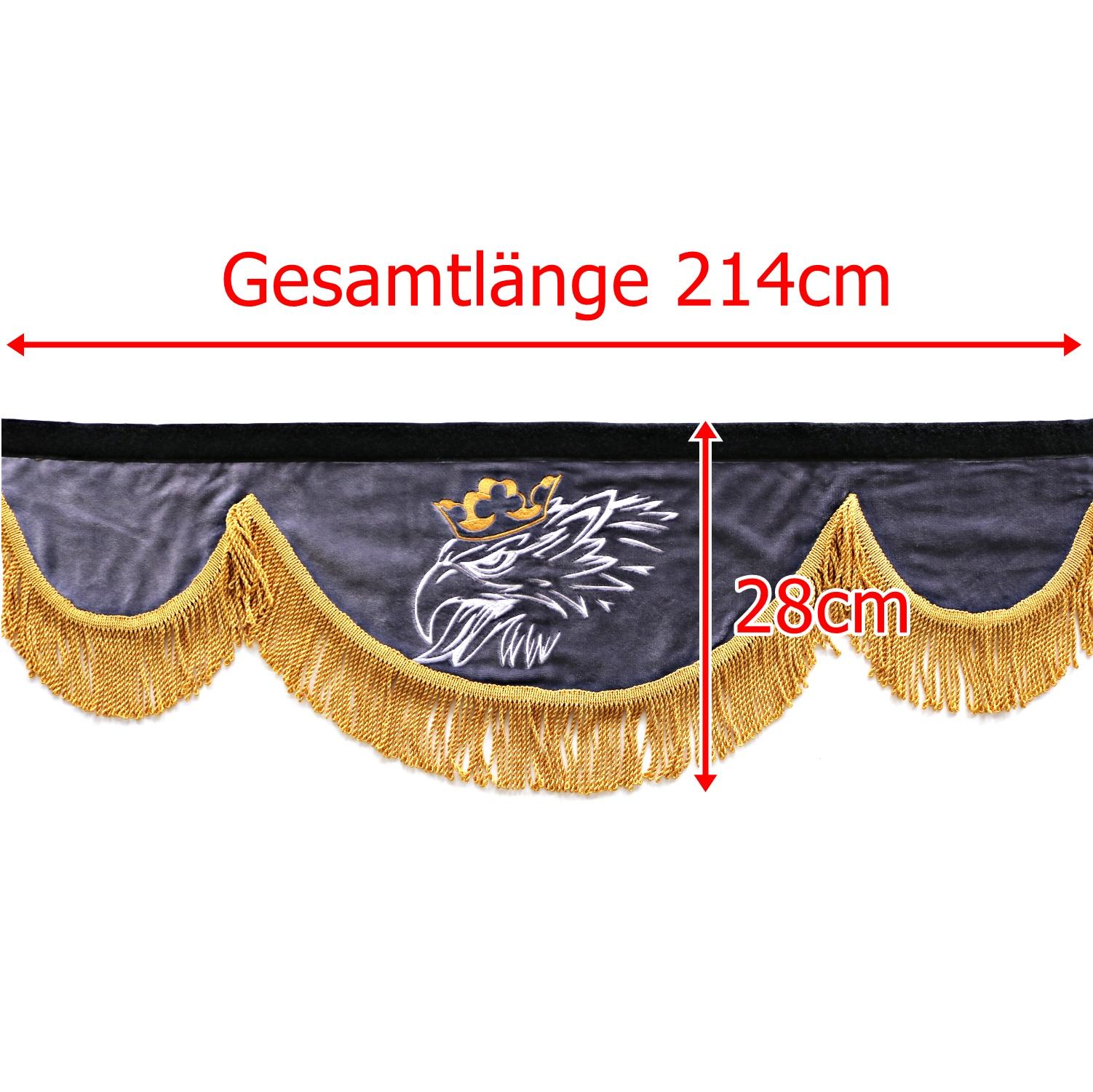 Gardine 214cm28cm iwlonex - Frontscheibenbordüre Schall Borde passend für SCANIA
