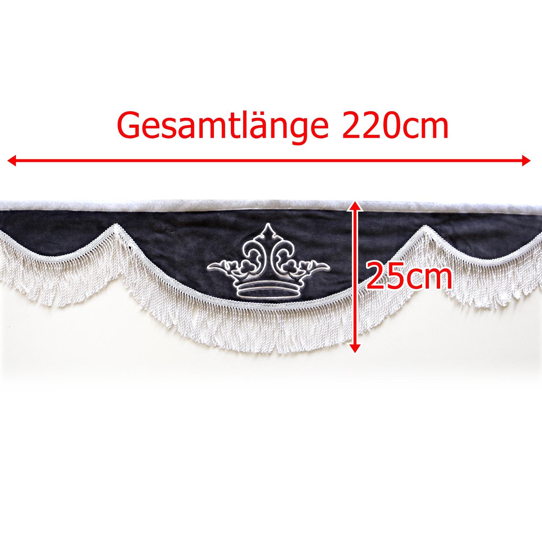 Gardine L 220cm H 25cm iwlonex 1 - Frontscheibenbordüre Schall Borde - UNIVERSAL
