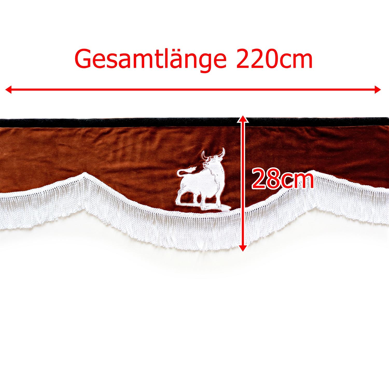 Gardine L 222cm H 28cm - Frontscheibenbordüre Schall Borde - UNIVERSAL
