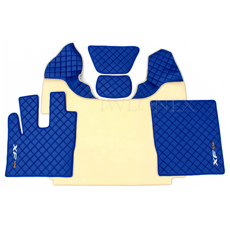 LKW Fussmatten passend fur DAF XF106 E6 Beige Blau 1 iwlonex - Fußmatten passend für DAF XF106 E6 Automatik 460 u. 510PS Beige/Blau