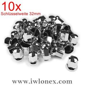 Radmutterkappen 1 300x300 - 10x Kunststoff RADMUTTERKAPPEN 32mm HÖHE 55mm Glanzchrom