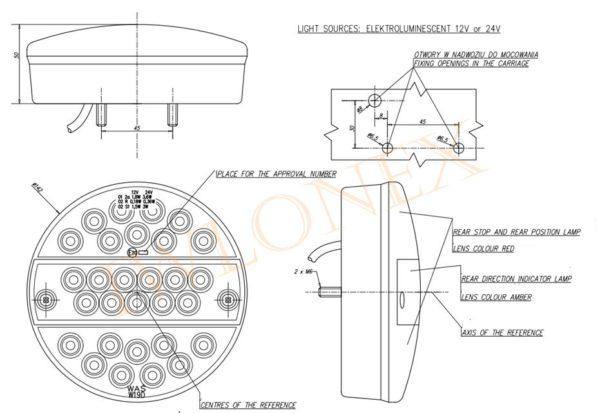 290 zeichnung 600x414 - 1x LED RÜCKLEUCHTE SCHLUSSLEUCHTE 290 O24V