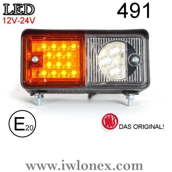 491 iwlonex 600x599 - 1x LED POSITIONSLEUCHTE mit Blinker Stapler Bagger Trecker 491