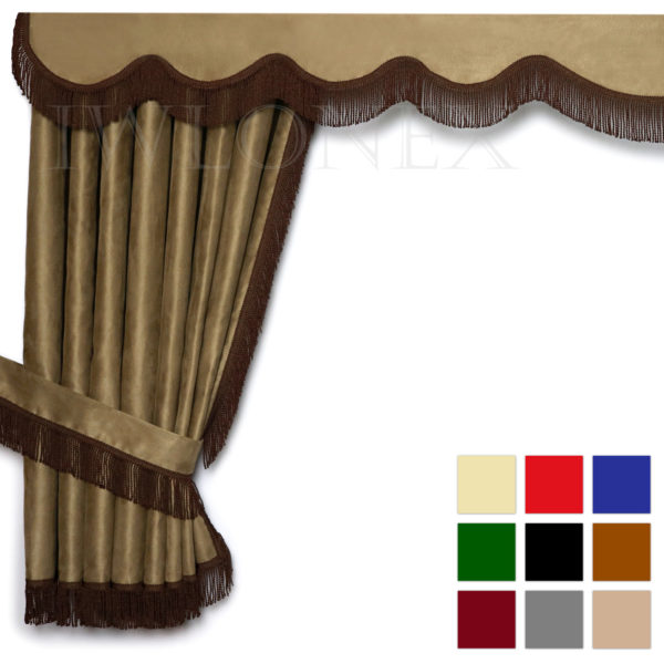 LKW Gardinen doppelt verarbeitet mit Fransen 1 IWLONEX main 600x600 - LKW Gardinen 5-teilig Set mit Fransen + Haken + Klett-Klebeband - deine Farben
