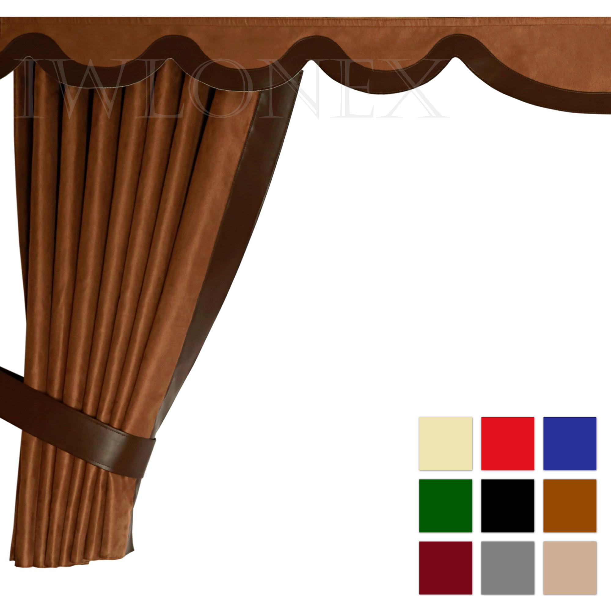 LKW Gardinen doppelt verarbeitet mit Kunstleder 1 IWLONEX - LKW Gardinen 5-teilig Set mit Kunstleder + Haken + Klett-Klebeband - deine Farben