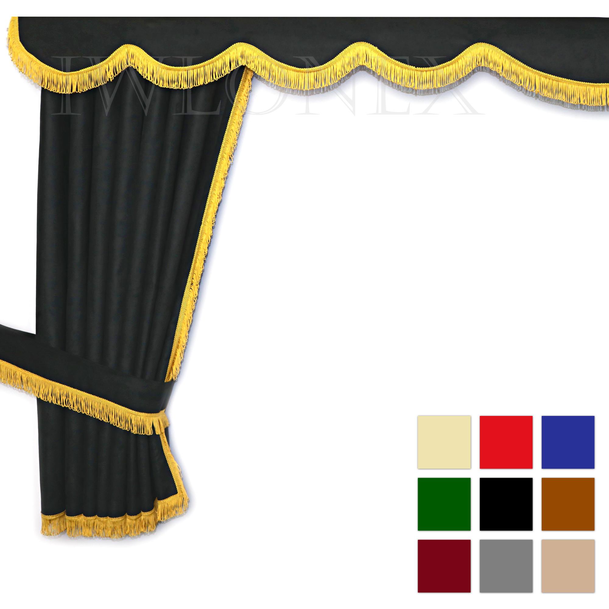 LKW Gardinen doppelt verarbeitet mit Schlaufen 1 IWLONEX main ok - LKW Gardinen 5-teilig Set + Haken + Klett-Klebeband - deine Farben