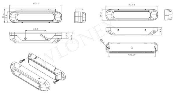 FT 200 zeichnung 600x327 - 1x LED WARNLEUCHTE FRONTBLITZER GELB FT-200