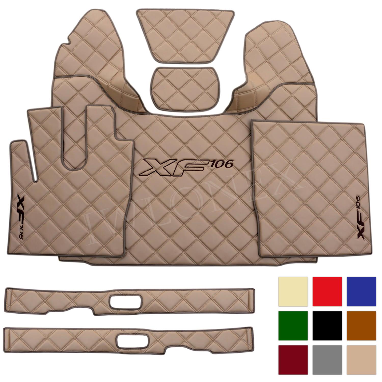 LKW Fussmatten Sitzsockelverkleidung passend fur DAF XF106 E6 Grosse Muster cappuccino IWLONEX - Fußmatten+Sitzsockelverkleidung passend für DAF XF EURO6 - Große Muster - deine Farben