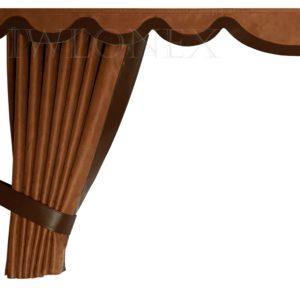 LKW Gardinen doppelt verarbeitet mit Kunstleder 1 300x300 - LKW Gardinen 5-teilig Set mit Kunstleder passend für DAF XF106 E6 SSC + Haken + Klett-Klebeband