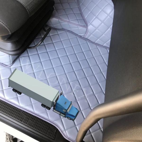 Fussmatten passend fur Volvo FH4 interior IWLONEX 600x600 - Fußmatten passend für Volvo FH4 + Sitzsockelverkleidung - Dunkelbraun Marmor