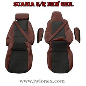 Sitzbezuge passend fur SCANIA R New Generation Dunkelbraun 300x300 - LKW Sitzbezüge passend für SCANIA S u. R New Generation - Dunkelbraun/Schwarz