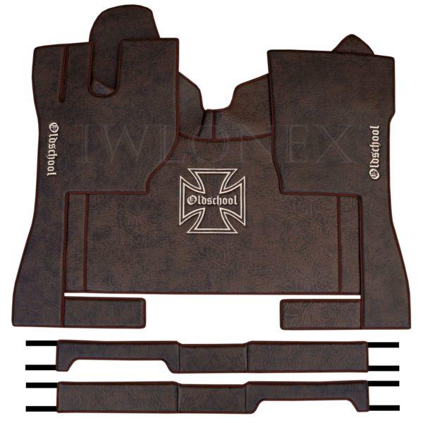 Fussmatten passend fur VOLVO FH4 Marmor Dunkelbraun IWLONEX 600x600 - Fußmatten passend für Volvo FH4 + Sitzsockelverkleidung - Dunkelbraun Marmor