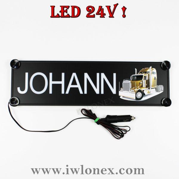 johann 600x600 - 1 LKW LED NAMENSCHILD Kastenschild 24V JOHANN