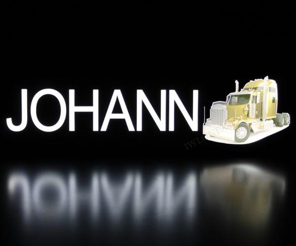 johann2 600x499 - 1 LKW LED NAMENSCHILD Kastenschild 24V JOHANN