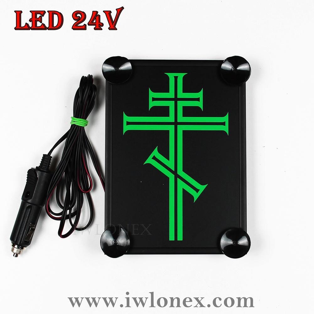 kreuz grün orthodoxe - 1x LKW LED Leuchtschild 24V Kreuz Orthodoxe Grün