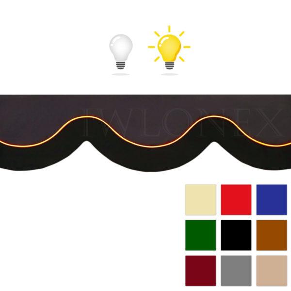 LKW Gardinen mit Kunstleder Beleuchtete main IWLONEX 600x600 - LKW Gardinen 5-teiliges Set mit Kunstlederkante und beleuchtete Frontscheibenbordüre+ Zubehör - deine Farben